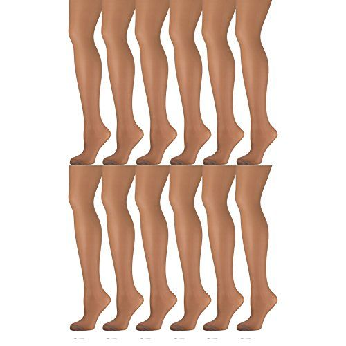 12 Pack of Mod & Tone Sheer Support Control Top 30D Womens Pantyhose (Honey, X-Large)