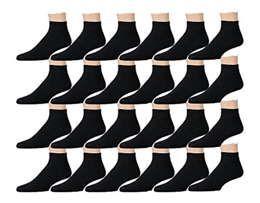 24 Pairs of Mens Sports Ankle Socks, Wholesale Bulk Pack Athletic Sock, by excell (Black, 10-13)
