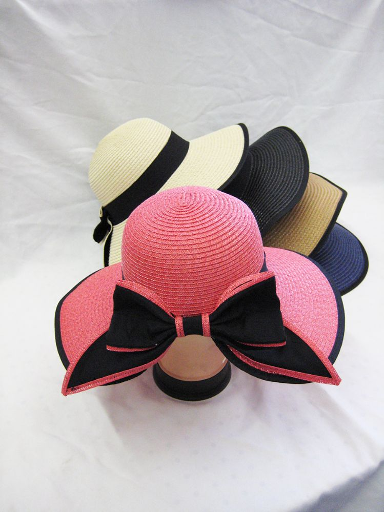 65fe2b115 24 Units of Ladies Straw Hat With Bow And Black Rim Assorted Colors - Sun  Hats