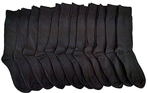 12 Pack Of excell Ladies Black Every Day Cotton Soft Crew Socks