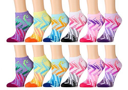 12 Pairs of WSD Womens Ankle Socks, Cotton No Show, Many Colorful Patterns (Pack H) - Womens Ankle Sock