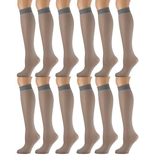 12 Pairs of excell Sheer Trouser Socks for Women, 20 Denier Knee High Dress Socks (French Gray) - Womens Trouser Sock