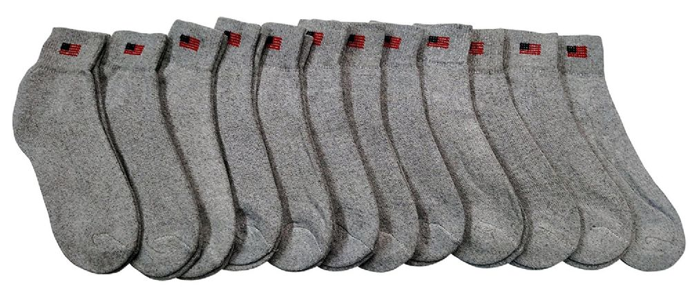 12 Pairs Of excell Mens USA Flag Gray Cotton Ankle Sport Socks - Mens Ankle Sock