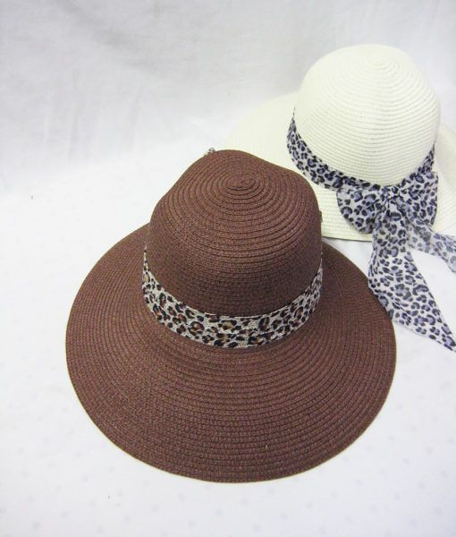 36 Units of Womens Fashion Summer Straw Hat With Cheetah Ribbon - Sun Hats  - at - alltimetrading.com 33c782a4681f