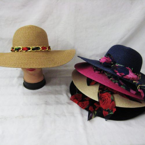 b7ca716792e1aa 24 Units of Women Summer Sun Hat With Floral Ribbon And Chain - Sun Hats -  at - alltimetrading.com