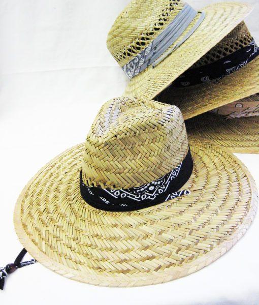 24 Units of Men s Bandana Straw Summer Hat - Sun Hats - at -  alltimetrading.com 728bc70337bd