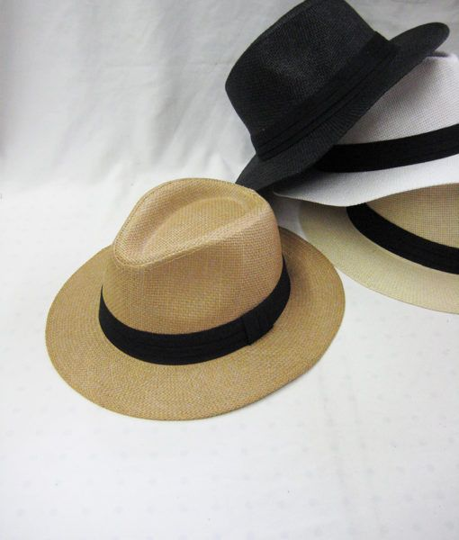 24 Units of Men s Paper Straw Fedora Hats in Assorted Colors - Fedoras 7e45acd5147