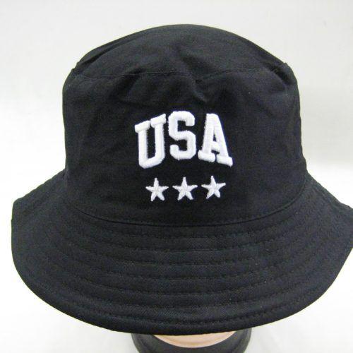 36 Units of Mens Summer Bucket Black USA Cap - Bucket Hats