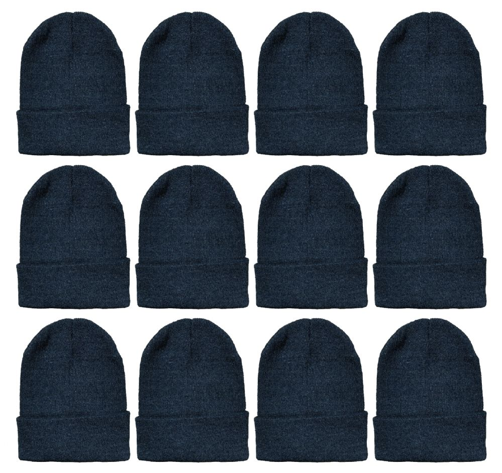 12 Winter Toboggan Beanie Hats by excell Thermal Sport Mens Womens, Black - Winter Beanie Hats