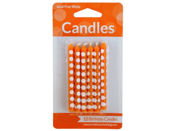108 Units Of Orange Polka Dot Birthday Candles Set