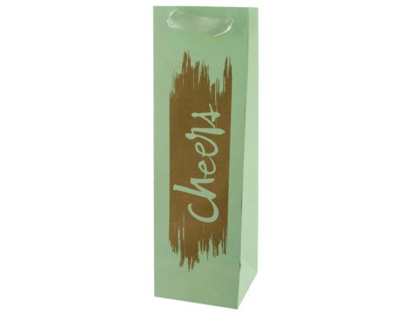 144 Units of Cheers Gold Foil Bottle Gift Bag - Gift Bags