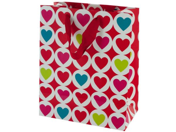 120 Units of Medium Bright Hearts Valentine Gift Bag - Gift Bags