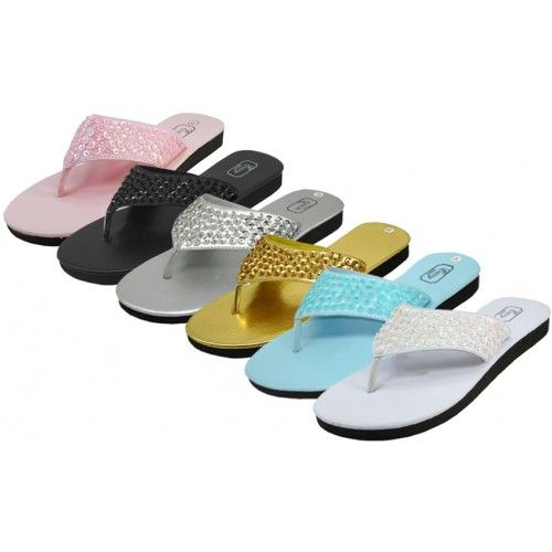 36 Units of Women's Sequin Flip Flops * Asst. 6 Color - Women's Flip Flops
