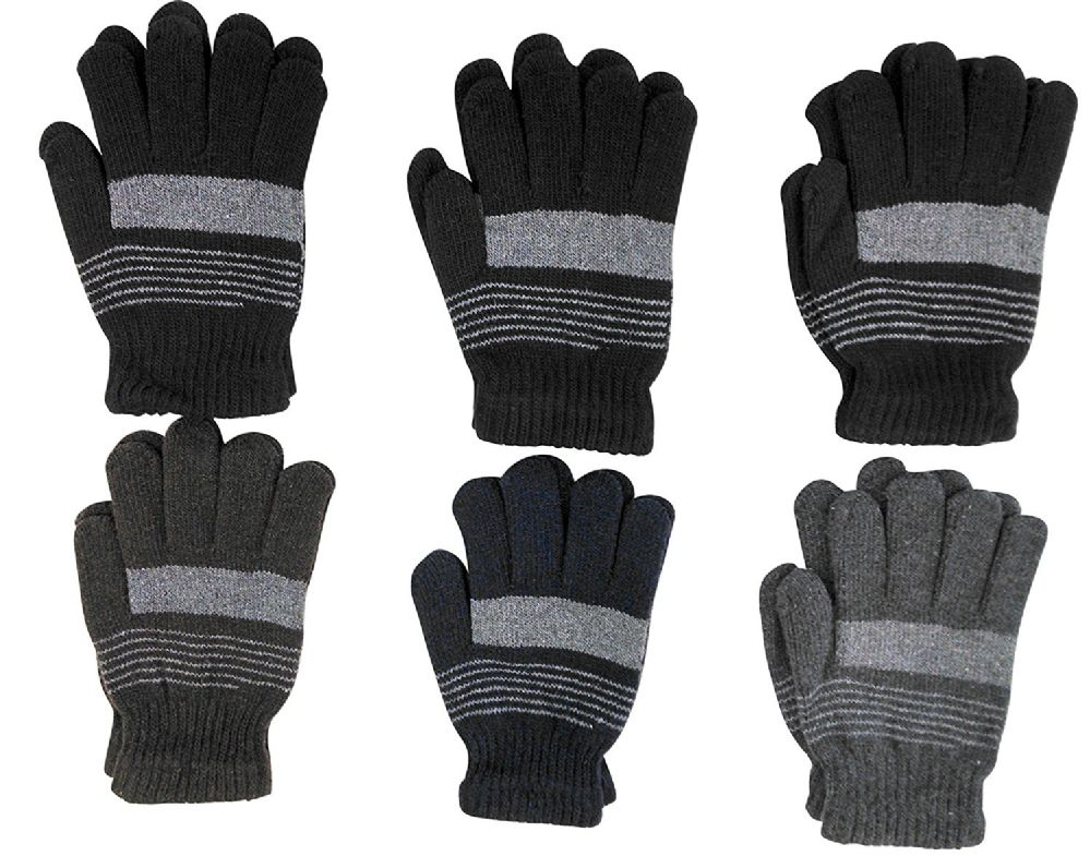 6 Pairs of Excell Solid Striped Wool Gloves, Mens Womens, Stretchy - Winter Gloves