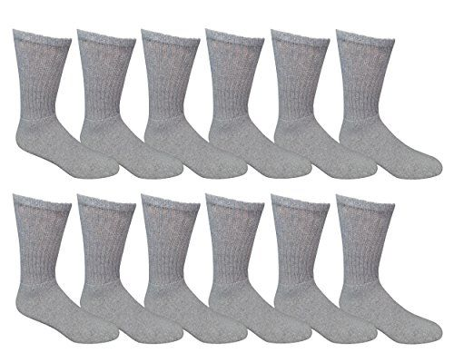 Excell Men's 12 Pairs of classic crew socks with full cushion cotton blend, gray, sock size King Size 13-16