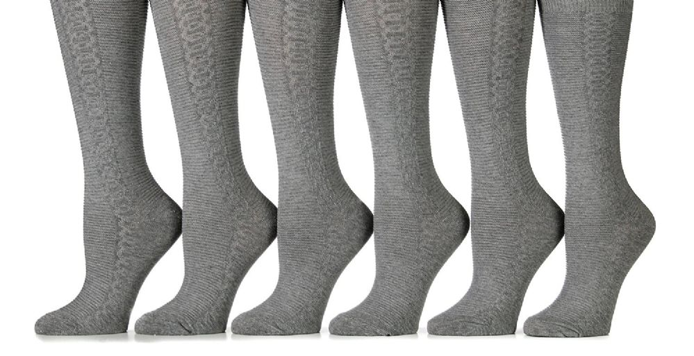 6 Pairs of Girl's Cotton Knee High Socks, Cable Knit Pattern (9 - 11, Gray)