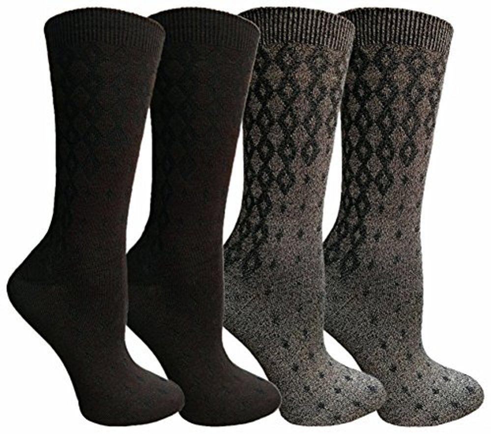 WSD Soft Dress Socks for Women, Silky Smooth Comfort Nylon Blend Crew Sock (4 Pairs Assorted C) - Womens Crew Sock