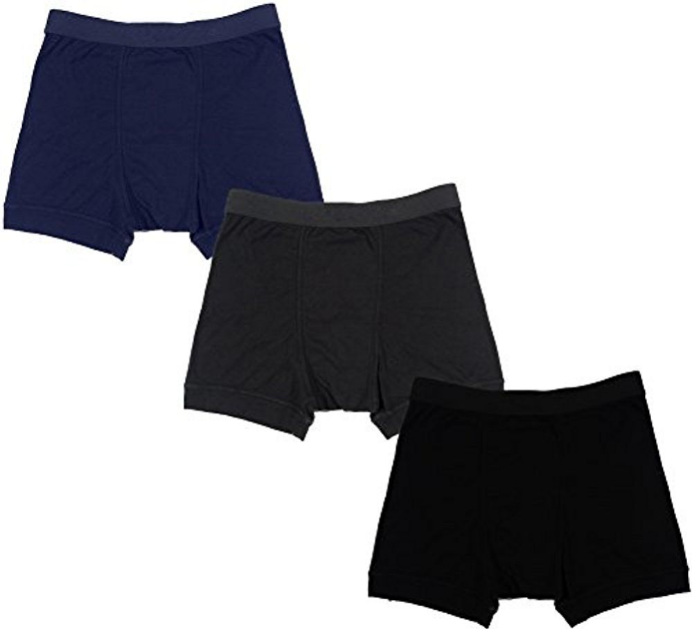 3 Pack Mens Boxier Briefs, 100% Cotton Solid Colored Underwear For Men, by WSD (Assorted, Large) - Mens Underwear