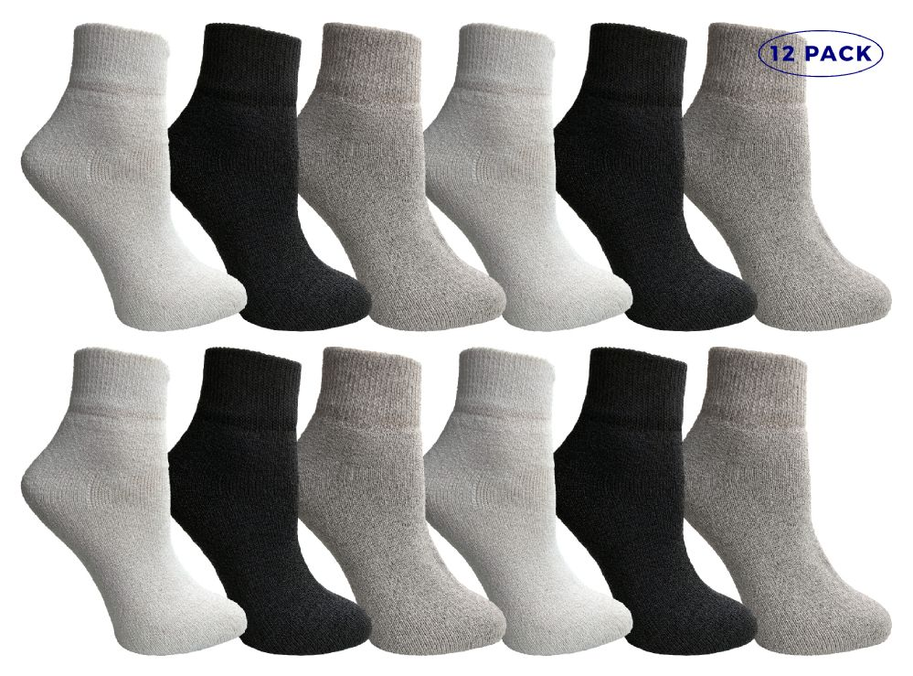 12 Pairs Of excell Womens Assorted Color Quarter Ankle Sports Socks, Size 9-11 - Womens Ankle Sock