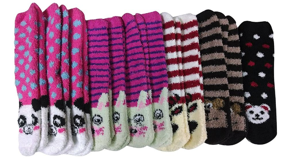 excell Womens Fuzzy Socks Crew Socks, Warm Butter Soft, 12 Pair Pack, Animal B, 9-11