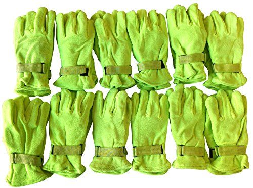12 Pairs Of excell Neon Yellow Fleece Winter Gloves, Hunting Gloves, - Winter Gloves
