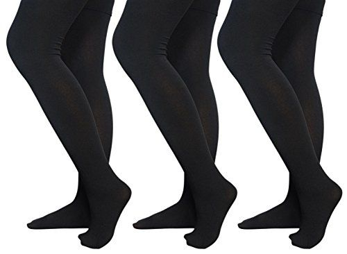 3 Pack Of Womens Mod & Tone Black Fleece Lined Footed Tights (Queen Size) - Womens Tights