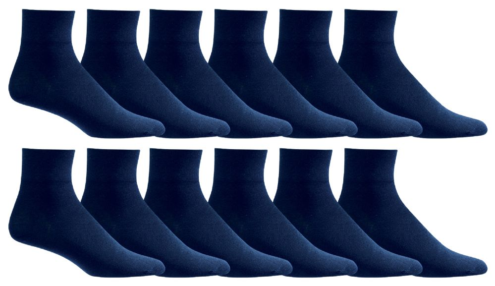 12 Pairs of excell Womens Diabetic Ankle Socks, Low Cut Athletic Sport Sock (Navy) - Womens Ankle Sock