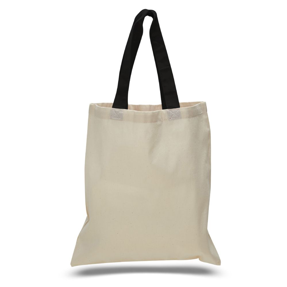 240 Units of 6 ounce cotton canvas tote with contrasting handles-Black - Tote Bags & Slings