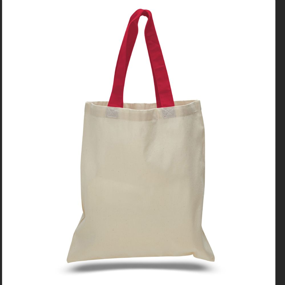 240 Units of 6 ounce cotton canvas tote with contrasting handles-Red - Tote Bags & Slings
