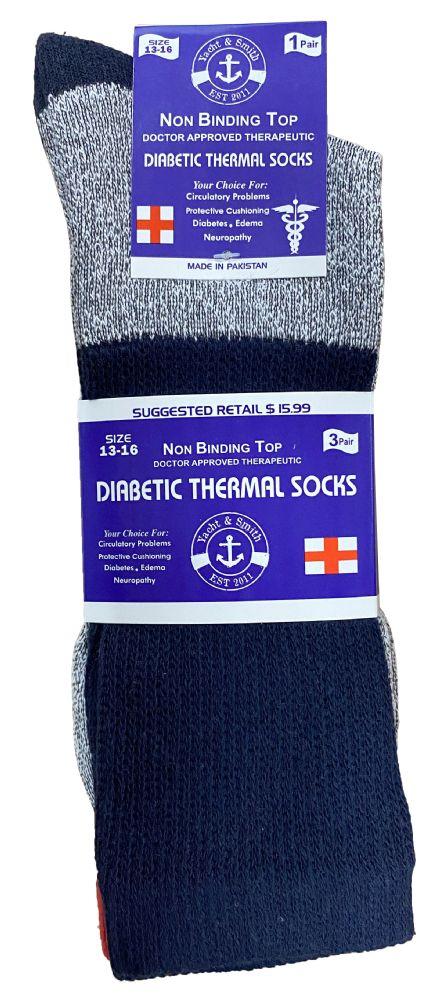 12 Pair of Excell Diabetic Socks, Neuropathy Socks, Colored Diabetic Socks (9-11, Thermal (Gray w/Black Top))
