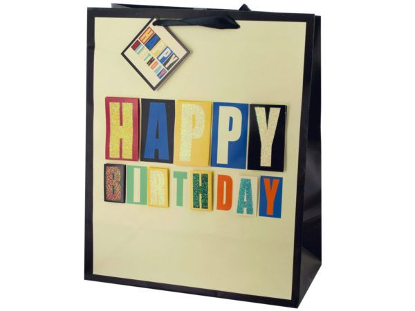 72 Units Of Large Block Letter Birthday Gift Bag