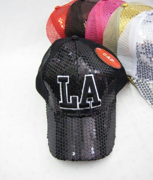 6843d6625 36 Units of ''Los Angeles '' Sequin Ball Cap - Baseball Caps & Snap Backs