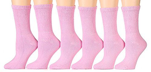 6 Pairs of Women's excell Diabetic Crew Socks, Ringspun Cotton, Neuropathy Edema Socks Pink, (Sock size 9-11/Shoe size 5-10)