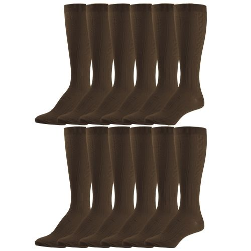Bulk Pack excell Girls Fancy Cable Knit Knee High Socks, Solid Colors, Uniform Socks (6 Pair Coffee, 8-9.5) - Womens Tights