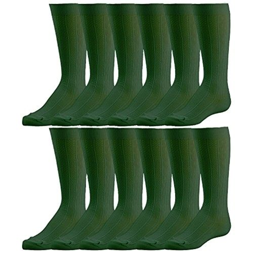 Bulk Pack excell Girls Fancy Cable Knit Knee High Socks, Solid Colors, Uniform Socks (6 Pair Hunter Green, 9-11) - Mens Crew Socks