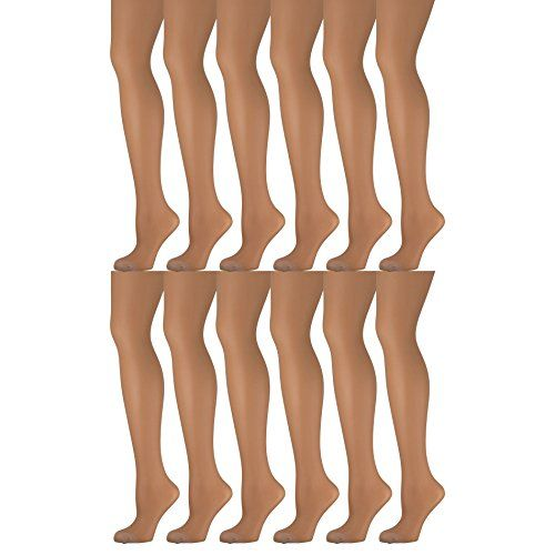 12 Pack of Mod & Tone Sheer Support Control Top 30D Womens Pantyhose (Nude, Medium)