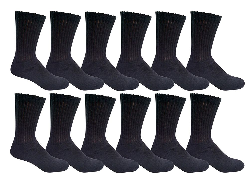 6 Pair Of excell Ladies Diabetic Neuropathy Socks, Sock Size 9-11 (Black) - Mens Crew Socks