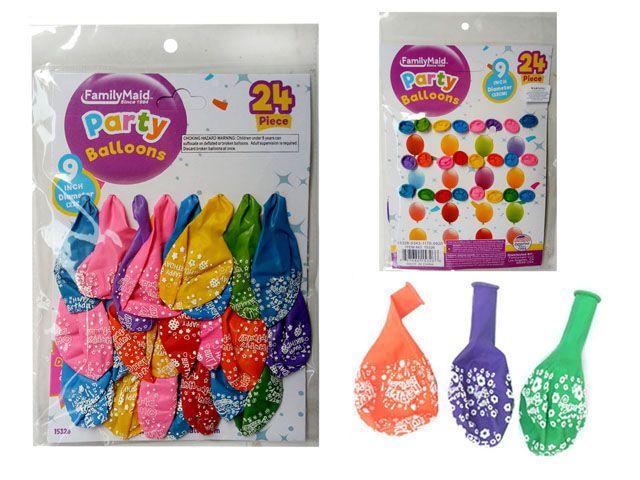 144 Units of 24 PC Happy B-Day Balloons - Balloons/Balloon Holder