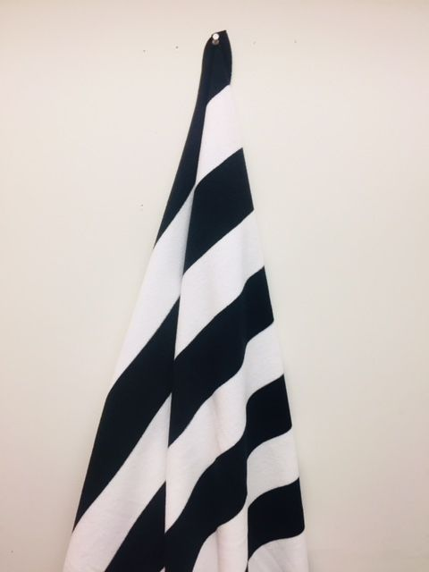 12 Units Of Black And White Cabana Striped Beach Towel Beach