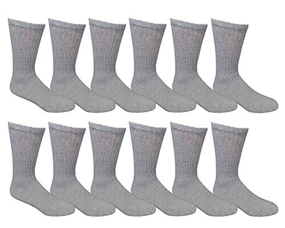 12 Pairs Value Pack of Wholesale Sock Deals Womens Crew Socks, Gray 9-11 - Womens Crew Sock