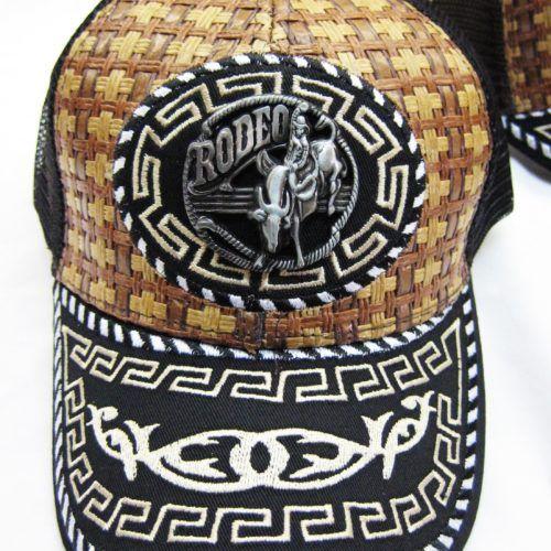 cdb90bb001ac7 48 Units of Rodeo Medallion Straw Mesh BaseBall Caps - Baseball Caps   Snap  Backs - at - alltimetrading.com