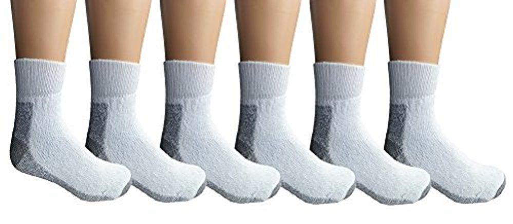 6 Pairs of Men's Ankle Heavy Duty Steel Toe Work Socks, Black, Sock Size 10-13 - Mens Crew Socks