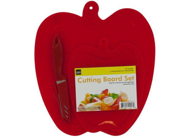 24 Units of Apple Shape Cutting Boards & Knife Set - CUTTING BOARDS