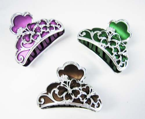 72 Units of Hair Clips/ Color Assorted With Studs - Hair Fancy Clips