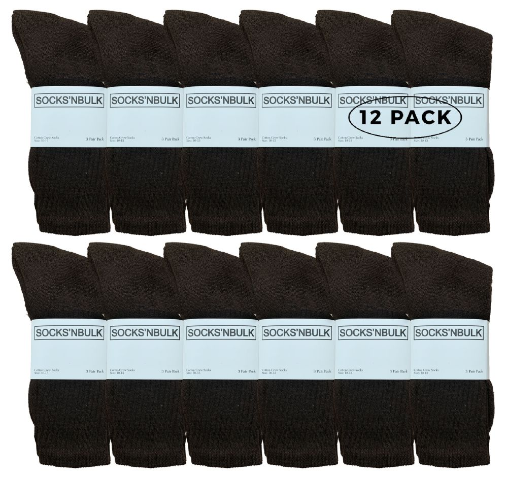 12 Pairs Value Pack of Wholesale Sock Deals Mens Crew Socks, Brown 10-13 - Mens Crew Socks