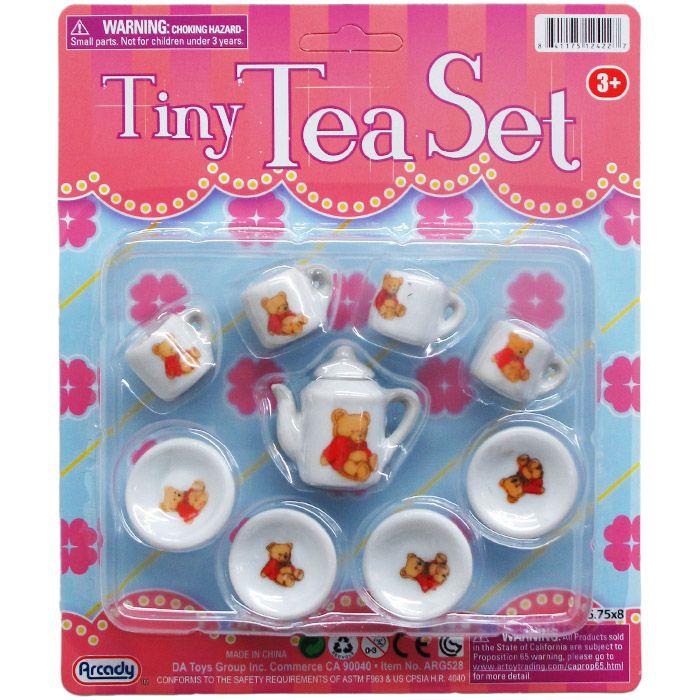 48 Units Of Mini Porcelain Tea Set On Blister Card Girls Toys At