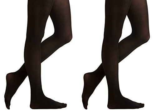 2 Pair of Mod & Tone Black Microfiber Opaque Tights, 60 Denier (Large) - Womens Tights
