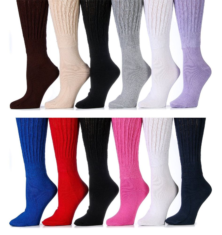 12 Pairs Of excell Womens Assorted Color Super Slouch Socks Cotton Blend, 9-11 - Store