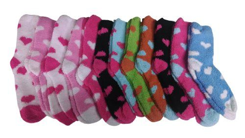 12 Pairs of excell Women's Heart Fuzzy Socks, Sock Size 9-11 - Store