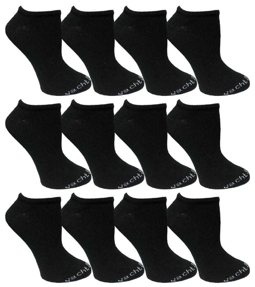 12 Pairs of Excell Girls Youth No Show Ankle Cotton Value Pack Children Socks (9-11, Black) - Girls Ankle Sock